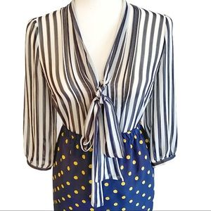 Urban Outfitters sheer striped blouse w neck tie